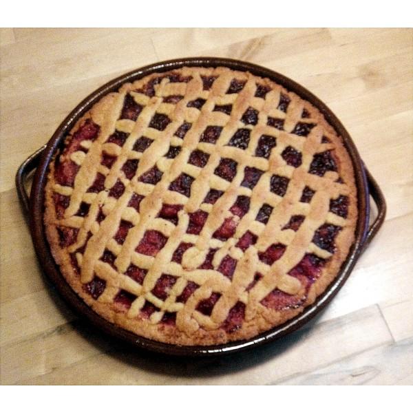 Koláč z kameninové formy. Recept na mřížkový koláč. Mřížkový koláč pečený v horkovzdušné troubě na 180°C.