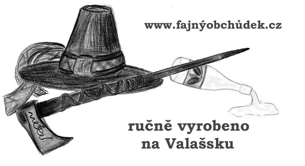 ručně vyrobeno na Valašsku, označení zásilek Fajného Obchůdku.
