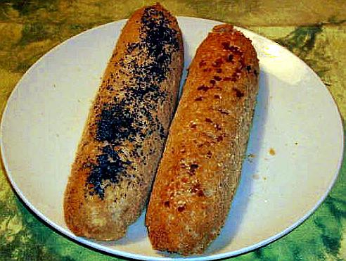 Bagety z kameninové formy. Recept na bagety. Bagety pečené v horkovzdušné troubě na 180°C.
